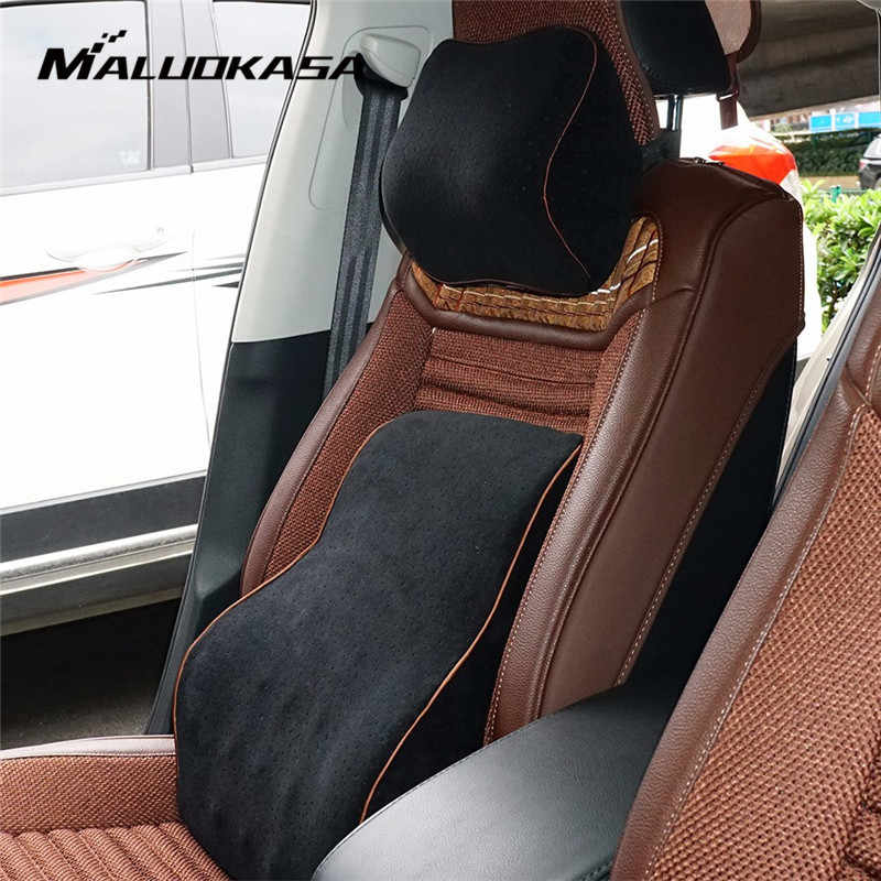Car Pillow Memory Cotton Foam Headrest Neck Warm Winter Car Seat Support Lower Back Cushion Lumbar Support Rest Auto Accessories