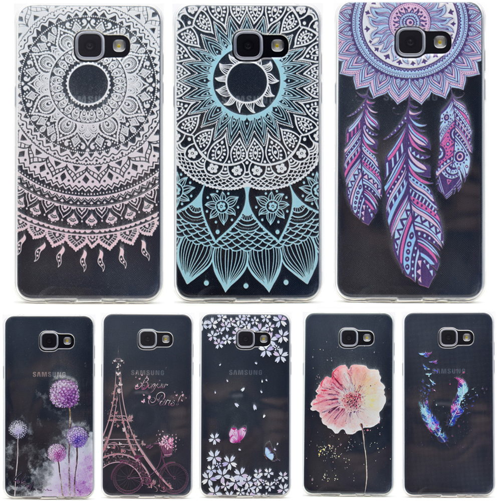 Pu leather case for samsung galaxy a7 2016 a710 peacock feather - For Fundas Samsung Galaxy A3 A5 A7 2016 Case Silicon Mandala Flowers Painting Soft Tpu A310f A510f A710 Back Cover Feather Print