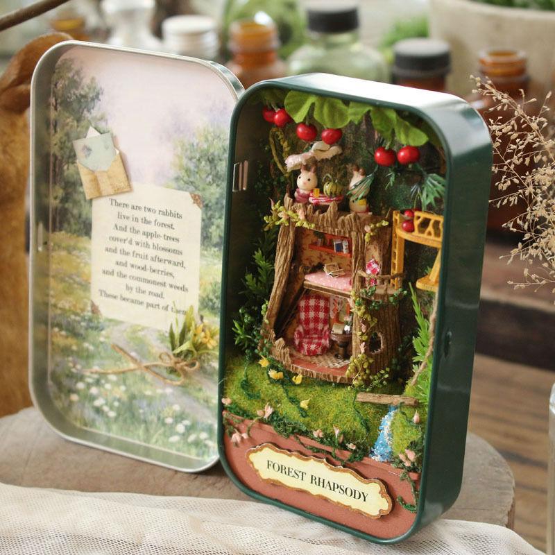 Mini Doll House Toy Diy Miniature 3D Wooden Dollhouse Miniatura Furniture House Doll Gift Theatre Trilogy V1-V3