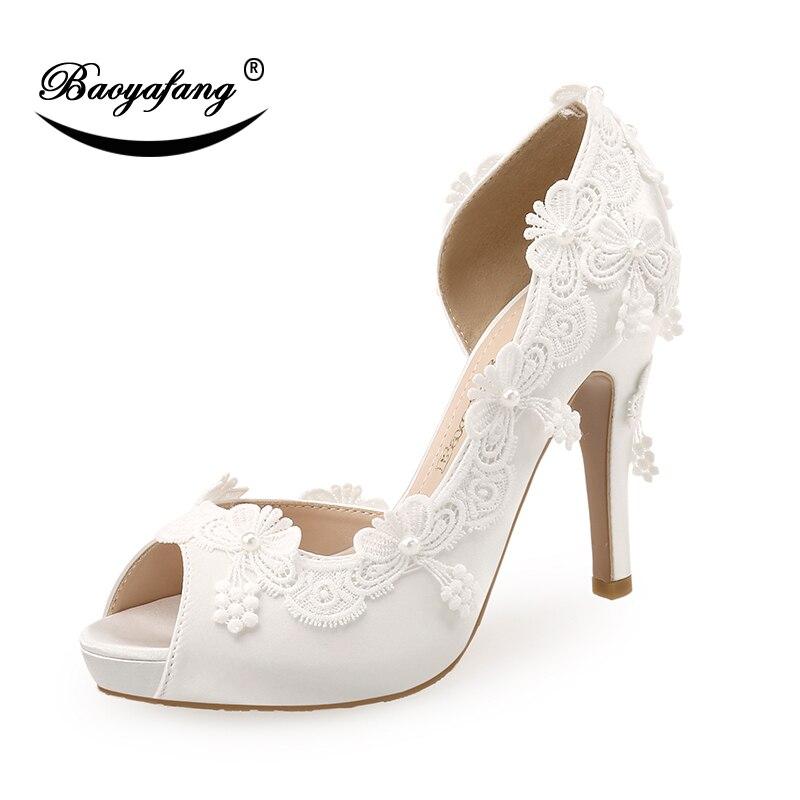 الأبيض الزفاف أحذية العروس الأزياء مفتوحة اصبع القدم امرأة حزب اللباس أحذية زقزقة اصبع القدم أحذية منصة وصيفه الشرف حزب اللباس مضخات-في أحذية نسائية من أحذية على  مجموعة 1