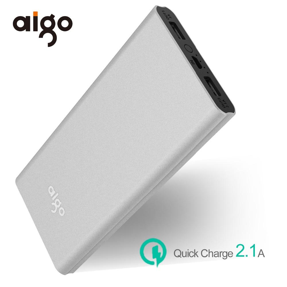 Aigo 10000mAh Powerbank for Xiaomi 2 USB Outports Ultra Slim Li-Polymer Power Bank Mobile Portable External Battery for Iphone