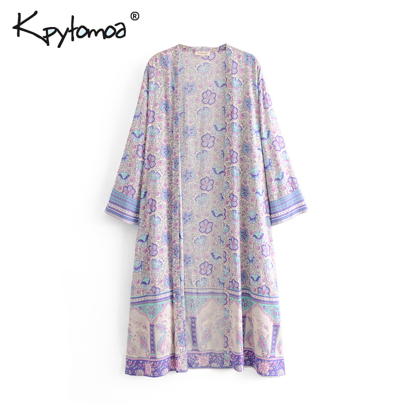 Boho Chic Summer Vintage Floral Print Loose Kimono Women 2019 Fashion Three Quarter Sleeve Beach   Blouses     Shirts   Blusas Mujer