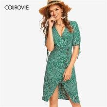 COLROVIE Green Knot Cuff Split Hem Dalmatian Tea Boho Dress Women 2019 Summer Short Sleeve Knee Length Holiday Ladies Dresses