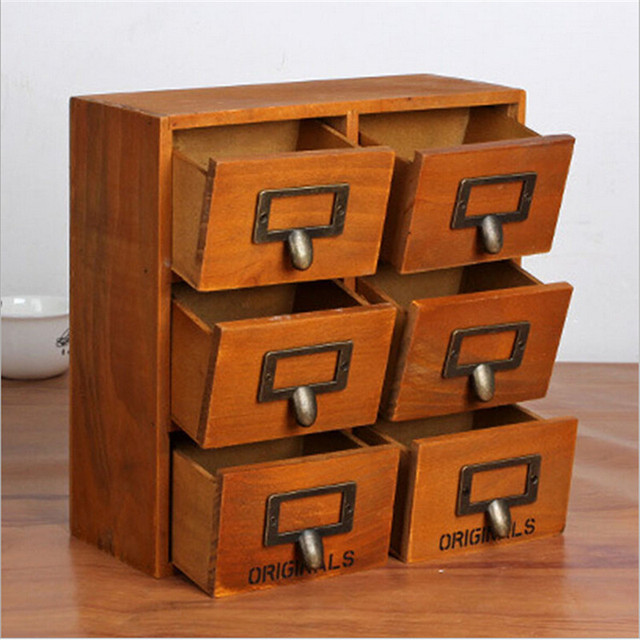 Multi Drawer Vintage Wooden Storage Cabinet Female Jewelry Box