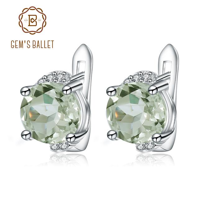 Gem's Ballet 4.08t Natural Green Amethyst Gemstone Earrings 925 Sterling Silver Stud Earrings For Women Valentine Gift Jewelry