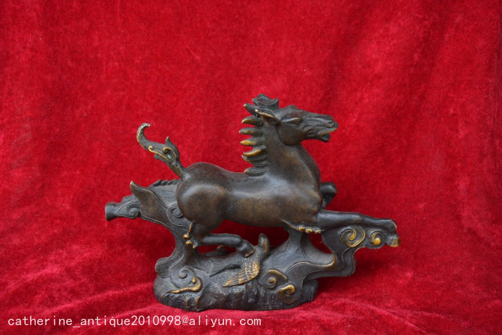 Ancient Gilt Copper Horse Riding Swallow Statue