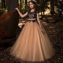 Новые Бальные платья для девочек в цветочек платья принцесса Вечеринка на день рождения свадебные платья Лидер продаж тюль, рукав-крылышко двойной V-образным вырезом Кружева аппликации
