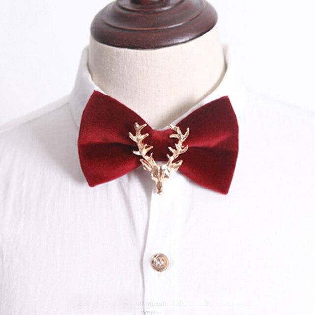 Luxo Red Deer Bowties para Homens Cashmere Animais Gravata borboleta Natal de Alta Qualidade 2016 Designer de Festa de Casamento Da Borboleta Arcos