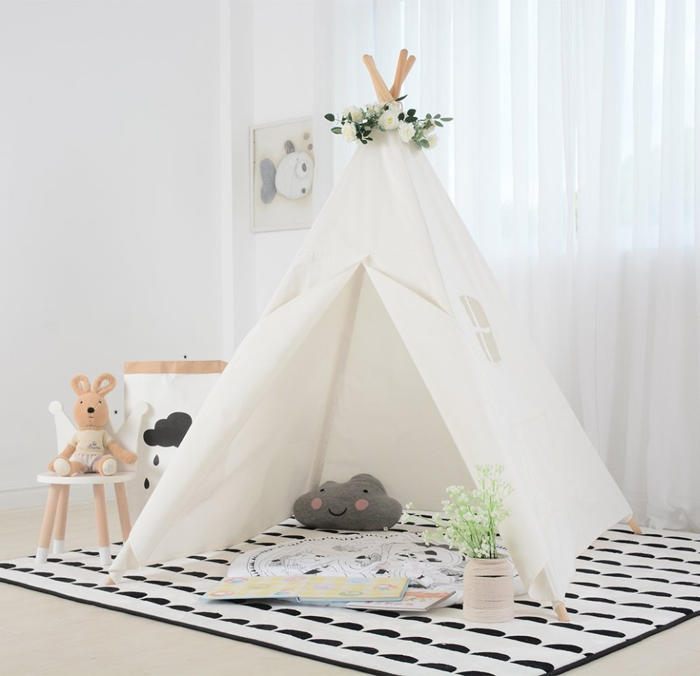 White Canvas Kids Teepee with Carry Bag Play Tent Childrens Indian Tipi Tent Wigwam Tent pink clouds teepee tent indoor childrens play tipi