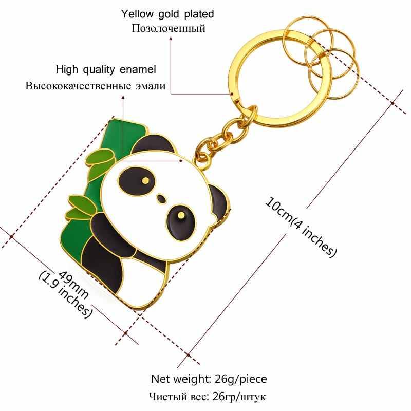 U7 Dễ Thương Panda Key Chains Nhẫn Cho Nam Giới/Phụ Nữ Bán Buôn Vàng Màu Novelty Động Vật Key Holder Keychain Với Hộp K012