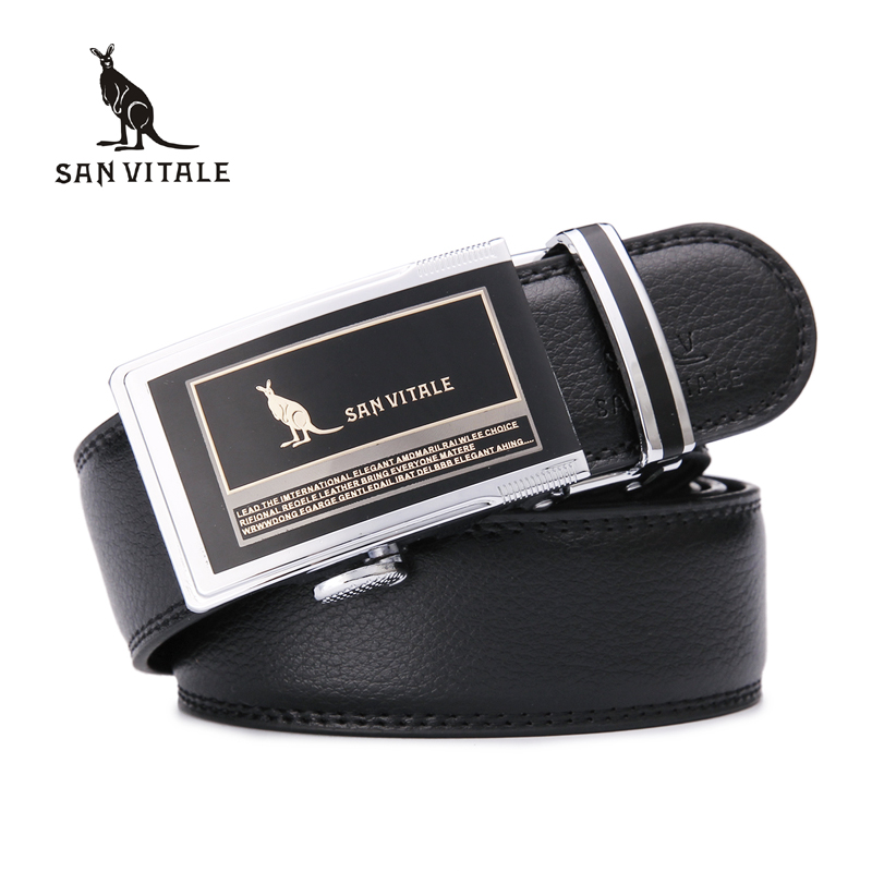 SAN VITALE Men Fashion Leather Designer Belts Men High Quality Cowskin Printing Mens Belts Luxury Cintos Cinturon Top Quality