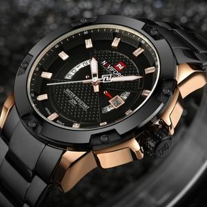 Image 3 - 最高級ブランドメンズ腕時計naviforce男性フルスチール日付防水スポーツメンズアーミーミリタリークォーツ腕時計時計リロイhombre