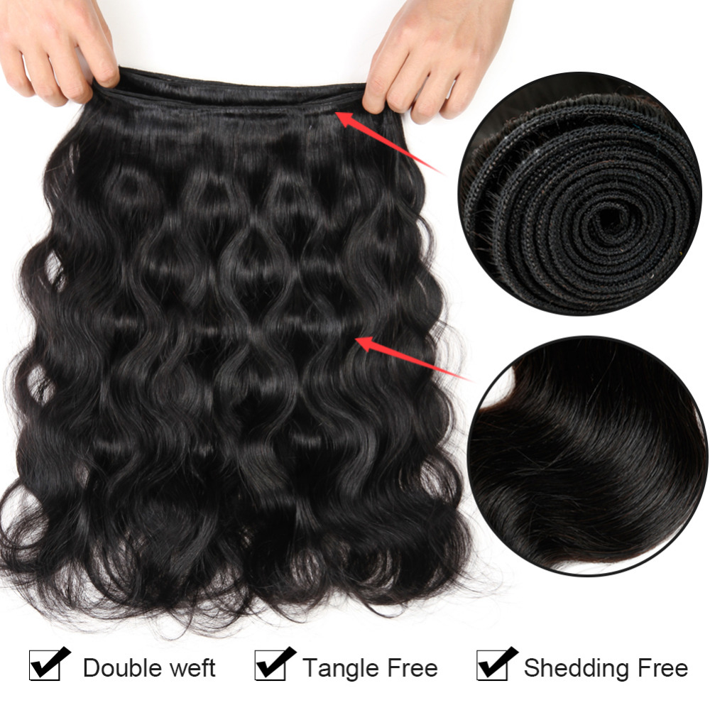 Hotlove Hair Brazilian Body Wave Hair 4 Bundles With Closure Can Be Dyed Non Remy Human Hair With Lace Closure Natural Color