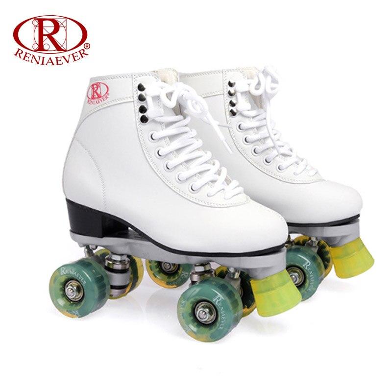 Prix pour Reniaever patins à roulettes double ligne patins blanc femmes lady adulte vert led éclairage 4 roues deux ligne de patinage chaussures patines
