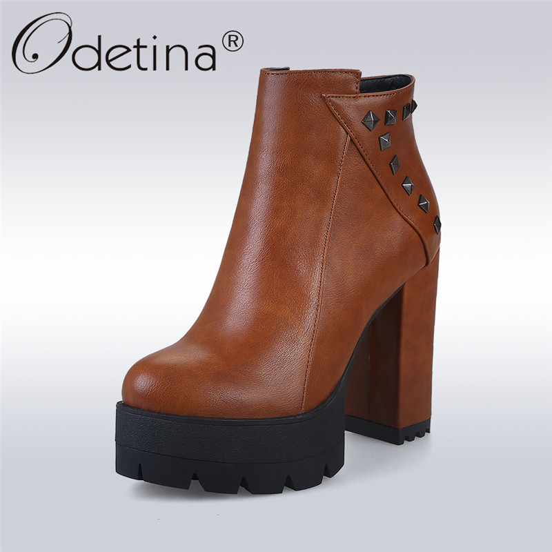 Odetina 2017 New Fashion Super High Heel Ankle Boots Platform Side Zipper Rivet Booties Sexy Autumn Winter Shoes Big Size 32-43 odetina 2017 new fashion genuine leather women platform flat ankle boots lace up casual booties autumn winter shoes big size 43