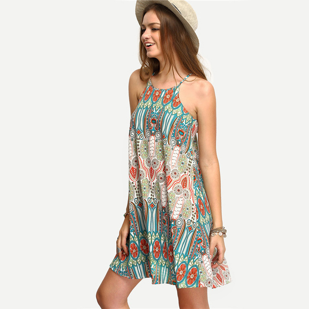 Women Beach Dress Vintage Sexy Cover-Up Summer Mini Dress Evening Party Cocktail New Cover Ups Pareo Beach Wear  4