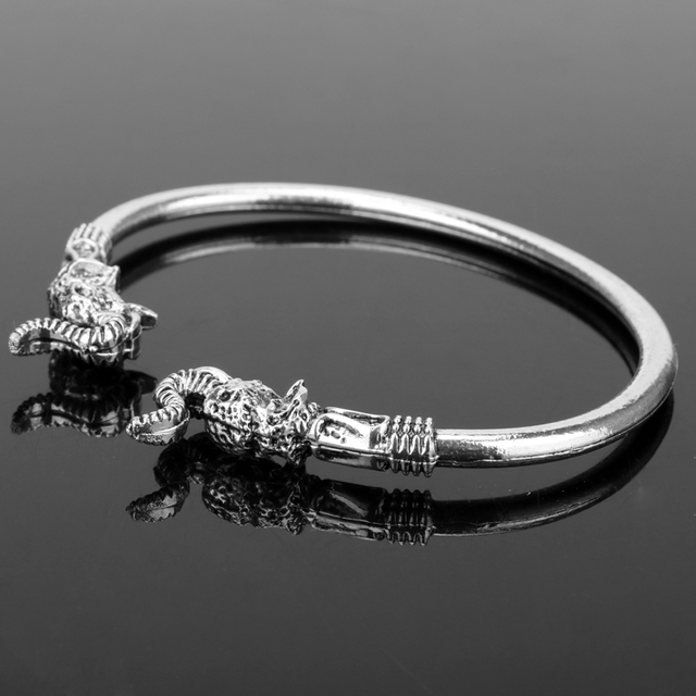 dongsheng Fashion Elephant Head Vikings Vintage Accessory Bangels Bracelets for women men Smooth Bangle Metal Jewelry -25 5