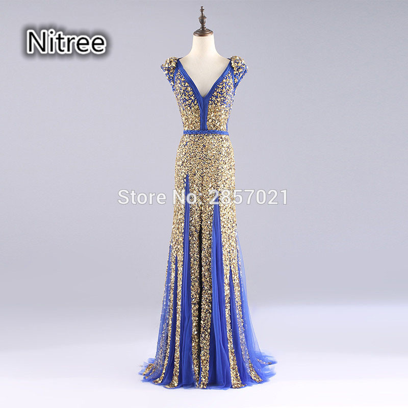 Real Gold Crystal Mermaid   Prom     Dress   V-neck Backless Long Formal Evening   Dress   Gown Vestido De Noche 2017 Handwork Party   Dresses