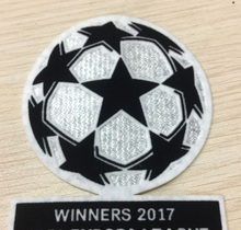 Soccer badge jersey patch Champions League winners 2017 UER LEAGUE Dark lines Soccer patch UCL badge Cashmere material velvet(China)