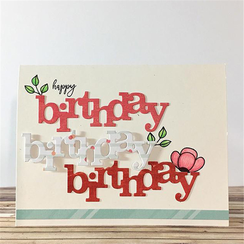 Birthday Cutaway Word Letter Metal Cutting Dies for Scrapbooking New 2019 Craft Cuts Card Making Stitch Troqueles Stencil