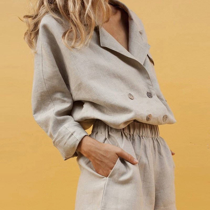 Women Solid Double-Breasted   Coat   and Shorts Casual Two Piece Set Button Loose Long Sleeve Turn   Down   Collar Jacket and Pants Suit