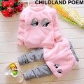 Invierno del bebé muchachas de la ropa gruesa de lana ropa de bebé girls set emoji ojos o cuello t-shirt + pants Princesa recién nacido ropa de bebé