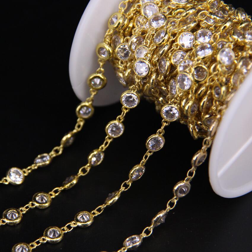 6mm, chaîne de perles rondes rondes en Zircon blanc, chaîne de chapelet en cristal Zircon cubique clair à facettes, Bracelet de boucle d'oreille bricolage CZ