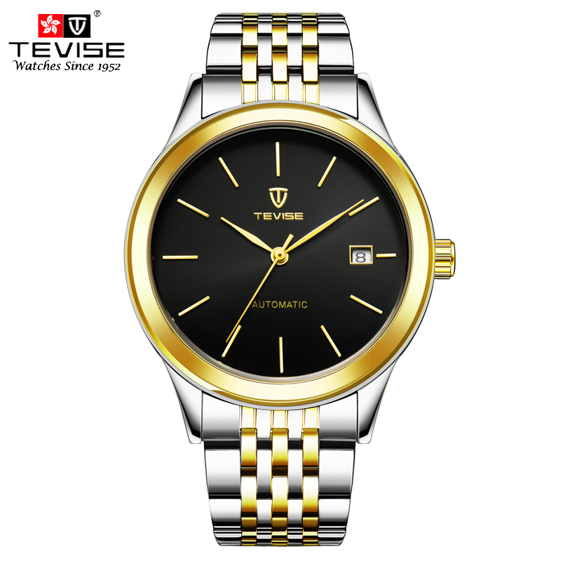 TEVISE Automatic Mechanical Watches Men Self Wind Auto Date Stainless Steel Business Classic Wristwatches with repair tool TVS47 tevise mechanical automatic self wind men watch stainless steel auto date day man business fashion wristwatches clock 619