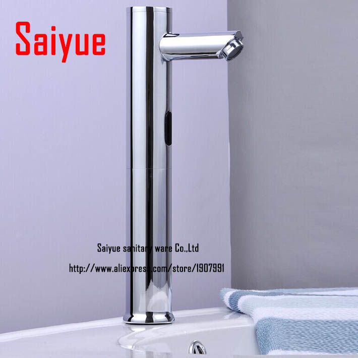 High Automatic Touch-Free Lavatory Bathroom Sink Sensor Faucet Chrome 8813B chrome lavatory bathroom faucet wall mounted sensor faucet automatic hands free touch sensor bathroom sink tap faucet
