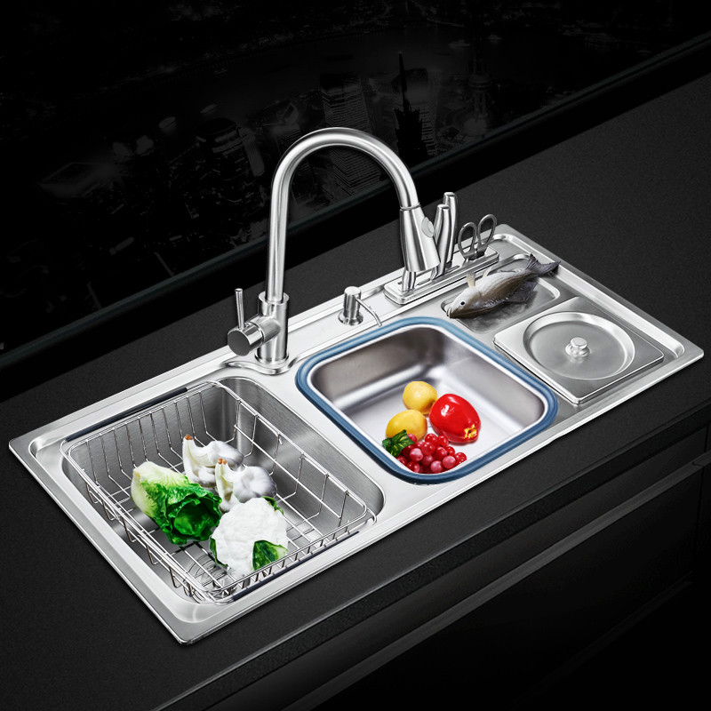 Free shipping Standard fashion kitchen sink food grade 304 stainless steel double groove hot sell 84X43/91x43 CM free shipping food grade 304 stainless steel hot sell kitchen sink double trough 0 8 mm thick ordinary 78x43 cm