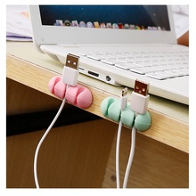 купить Fashion multicolor Cable Organizer Cable Winder Earphone  Wire Storage Silicon Charger Holder Clips Cable winder по цене 45.54 рублей