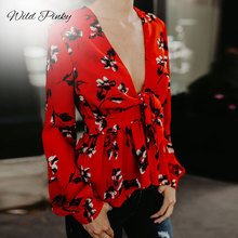 WildPinky Women Tops and Blouse Red Print Tie Up Peplum Ladies Shirt Casual Vintage V Neck Spring Summer Long Sleeve Blusa Mujer