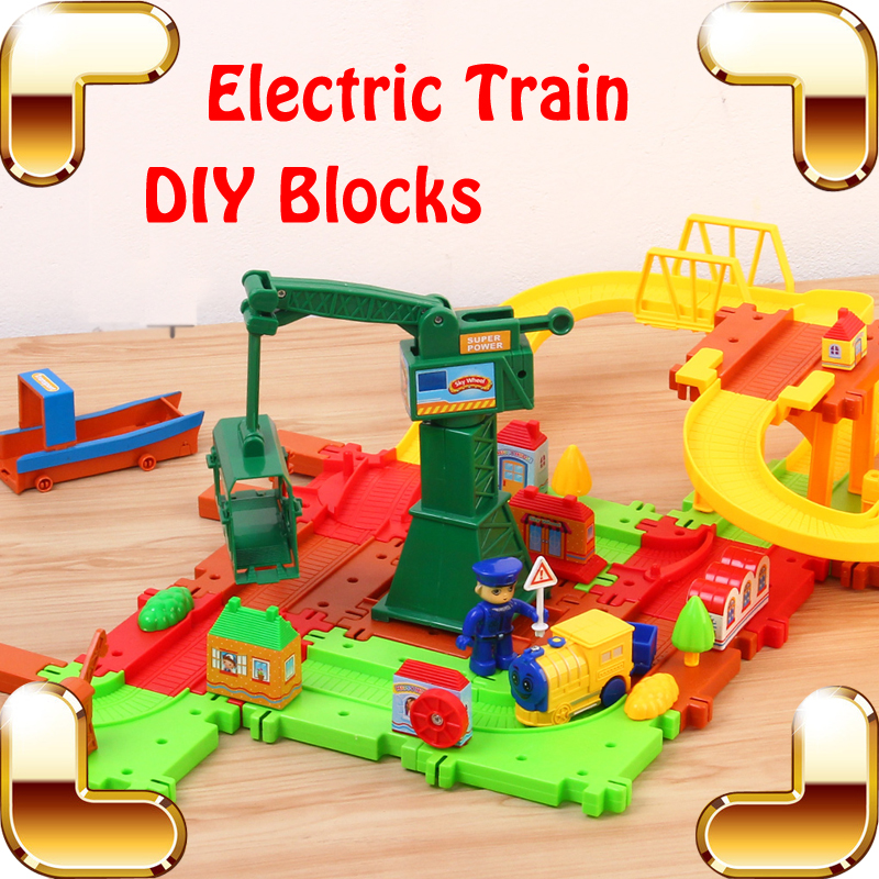 Ny ankomst Present Baby Favorit Elektrisk Järnväg Tåg Leksak Utbildning DIY Game Blocks Kids Learning Teaching Tool Luxury Present
