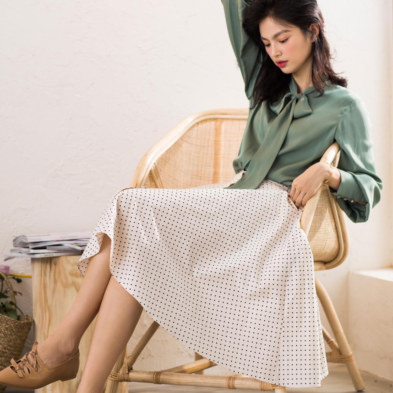 Faldas Clásico Alta De Una Ola Mujeres Nueva Las Primavera Dulce Bromista 2019 Algún La Cintura Beige Palabra verano apz1I
