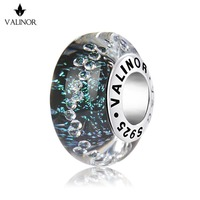 Vetro verde stelle perle di murano fascini Dell'argento Sterlina 925 misura I Braccialetti per i Monili Delle Donne JKLL009-1