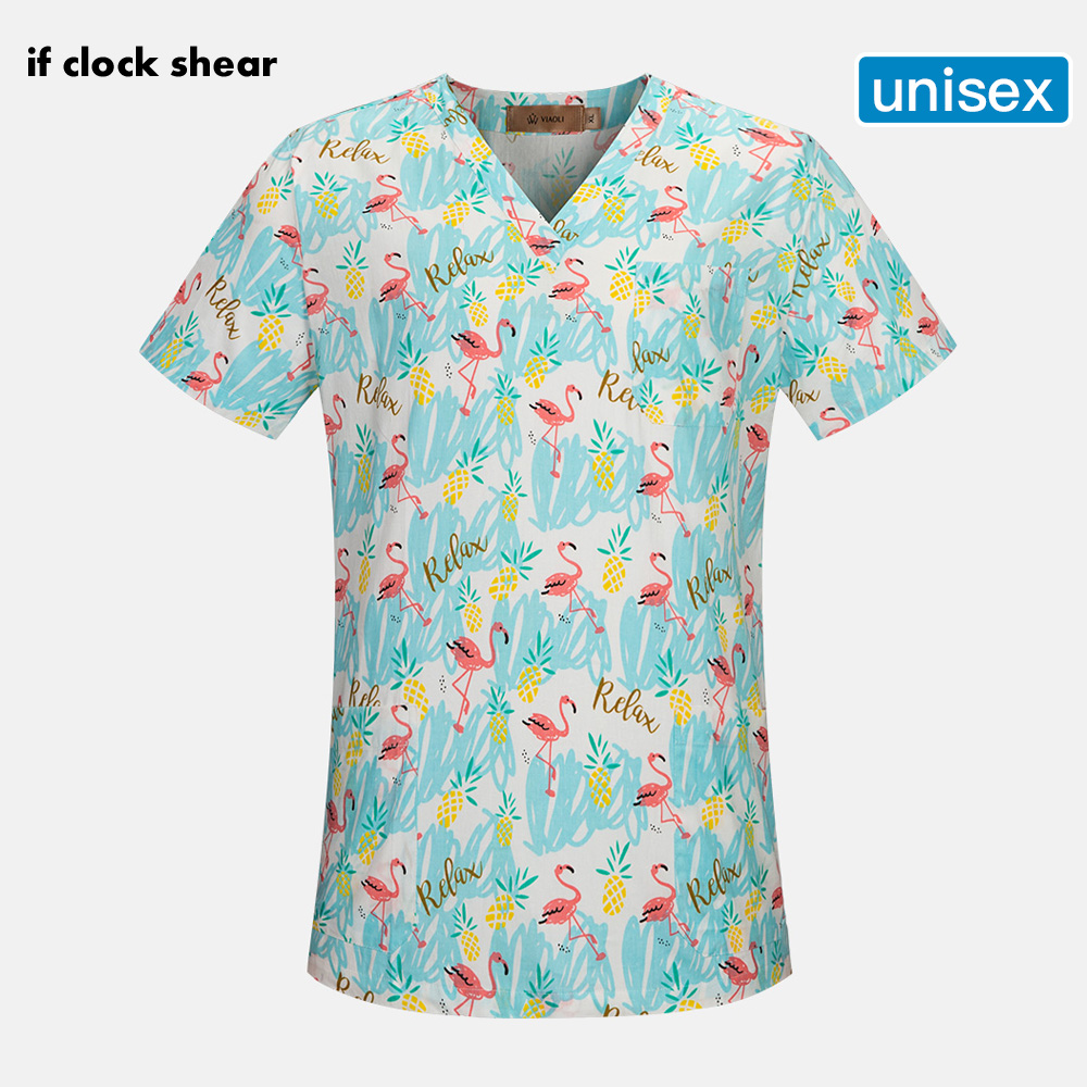 NEW IF Women Scrub Top With V-Neck Cotton Breathable Flamingo Print Surgical Medical Uniform Hospital Nurse Scrub Tops For Women