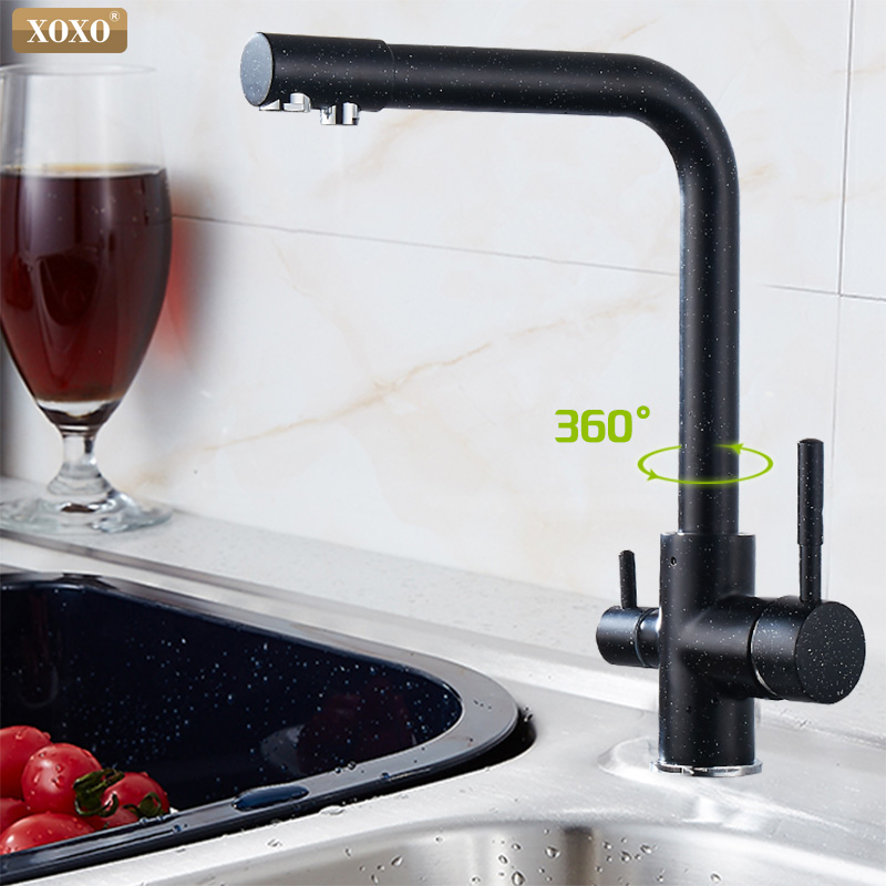 XOXO Filter  Kitchen faucet deck installed black mixer tap crane rotate 360 degrees to the kitchen faucet water features 83027H