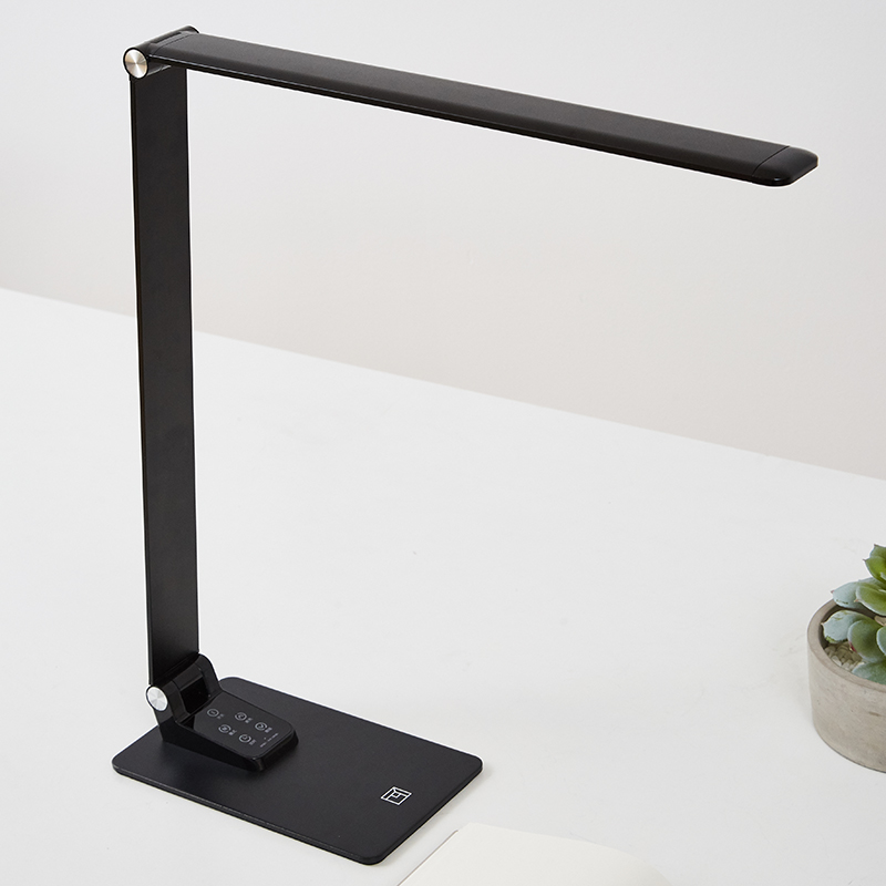 Ультратонкая Современная черная настольная лампа USB зарядка сенсорный диммер 30 уровневый светильник ing алюминиевый светодиодный светильник для книг для рабочего стола Кабинета офиса - 2