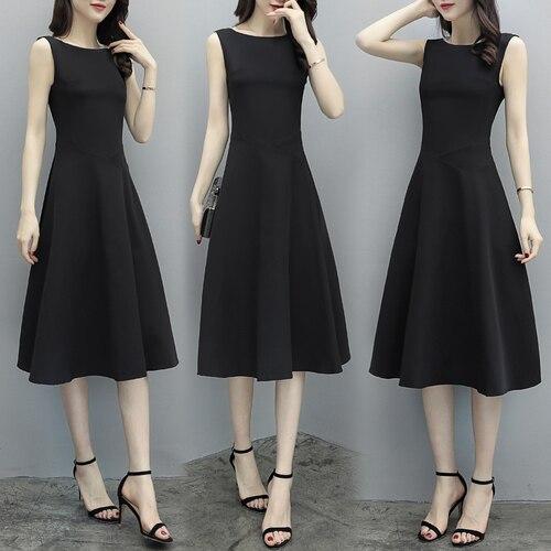 Женское корейское Элегантное платье без рукавов, повседневное черное платье с круглым вырезом, лето 2019