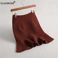 Spring Autumn High Waist Knitted Skirts Women Pleated mini Skirt Casual Trumpet mermaid Skirt Female midi Short Skirt Woman