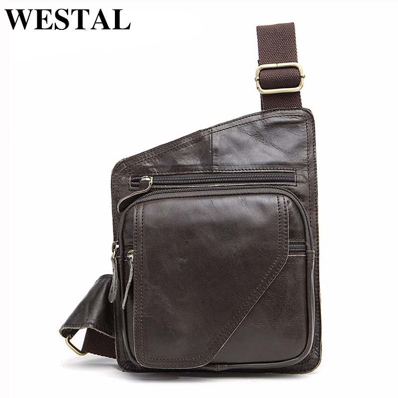 WESTAL Genuine Leather Bag Men Waist Pack Small Shoulder Crossbody Bags Men Messenger Bags Brand Leather Belt Chest Bag Male цена