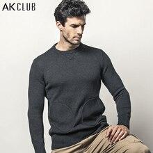 AK CLUB Brand Sweater Crew Neck Sweater Woolen Patchwork 1.36kg Mitten Pockets Men Sweater O-Neck Wool Knitted Sweater 1403024