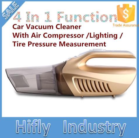 120W Přenosné auto Vysavač 12V 4 IN 1 Kompresor pro automobily Tlak vzduchu v pneumatikách Guage S Light Super Suction Wet & Dry Dvojité použití
