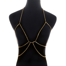 Wholesale Sexy Bra Chain Multilayered Body Bikini Body Neck Rhinestone Chain Silver Gold Color Halter Bling Jewelry for Women цена
