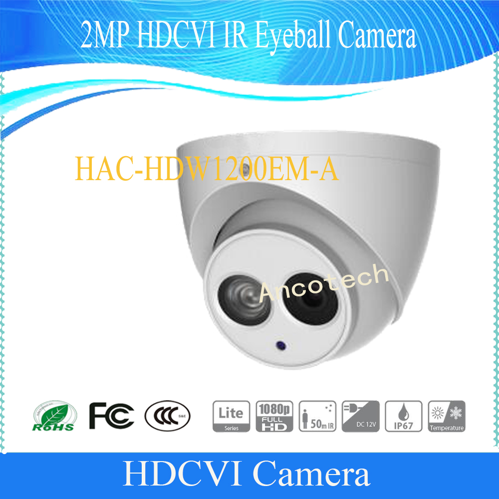 Free Shipping DAHUA HAC-HDW1200EM-A  1080P HDCVI IR Eyeball Camera Smart IR IP67 Without Logo CCTV 2MP