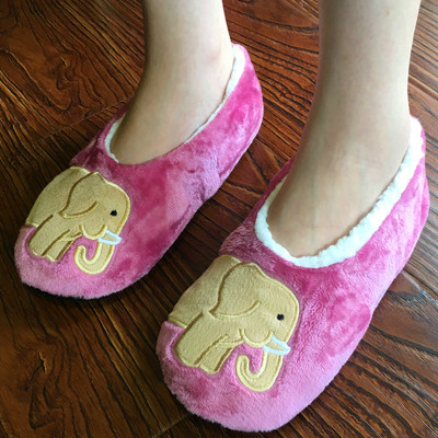 New Warm Soft Sole Women Indoor Floor Slippers/Shoes Elephant Wool Slippers Flannel Flat Home Slippers stone village new warm flats soft sole women indoor floor slippers shoes comfortable indoor shoes fur bunny slippers plush socks