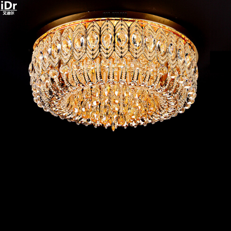 Traditional golden crystal lamp living room lamp hotel lighting engineering round gold Ceiling Lights Lmy-0202 traditional crystal lamp golden circular living room lamp lighting luxury bedroom lamp led patch ceiling lights lmy 080