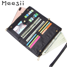 Meesii Men Genuine Leather Wallet Large Capacity Card Holder Long Clutch Male Double Zipper Phone Bag