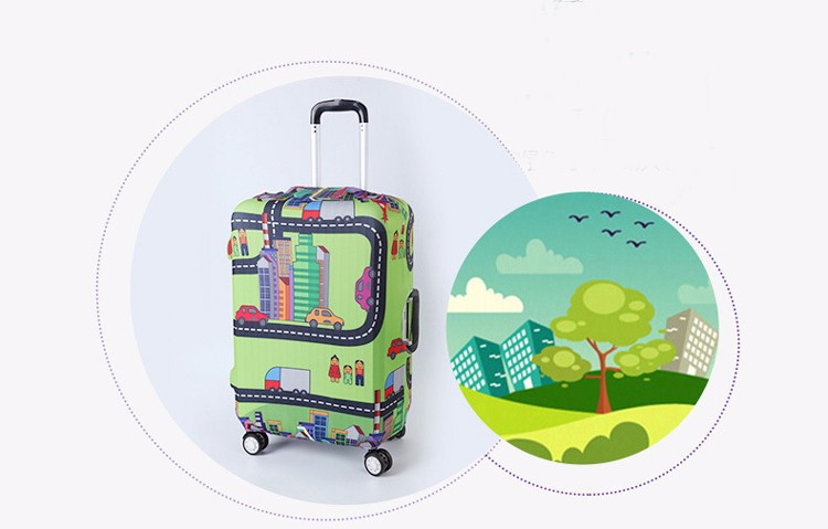 TRIPNUO Thicker Blue City Luggage Cover Travel Suitcase Protective Cover for Trunk Case Apply to 19''-32'' Suitcase Cover 19