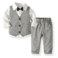 Kids Boy Clothes Gentleman Bow Tie Long Sleeve Shirt + Plaid Vest+ Plaid Pants Set Party Birthday Wedding Children Baby Boy Suit